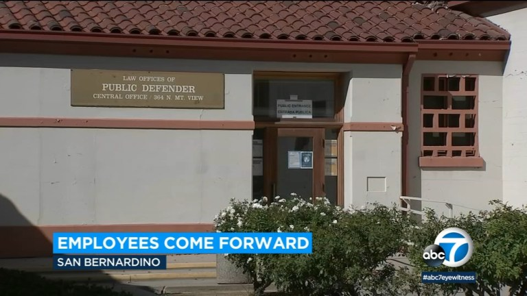 Watch Allegations of sexual harassment and assault made in opposition to San Bernardino public defender's workplace – ABC7 Los Angeles News