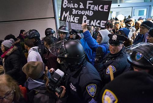 PHOTOS: Demonstrators protest President Trump's ...