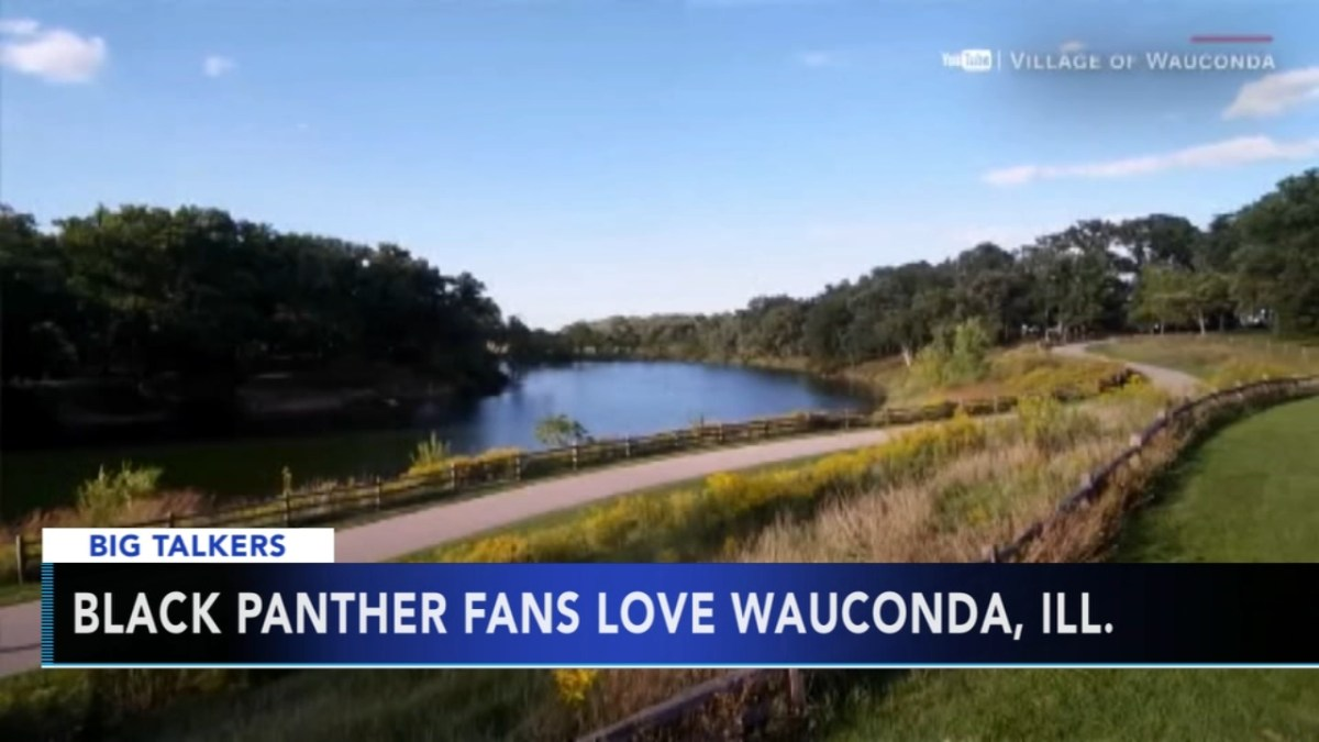 """A news screenshot with the words """"Black Panther fans love Wauconda, Ill."""" over an idyllic river scene"""