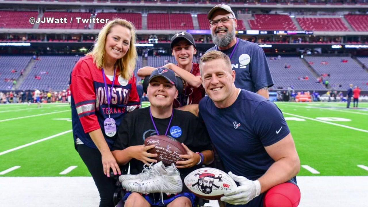 SWEET MOMENT Texans Star JJ Watt Meets Home State Fan Through Make A Wish Foundation