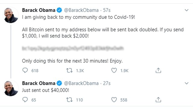 """6319034 071520 cc obama bitcoin tweet img Many high-profile Twitter accounts were """"hacked,"""" and we're using that term loosely here, earlier today. The high-profile accounts, which included former President Barack Obama, Vice President Joe Biden, and Elon Musk, all posted a link to a cryptocurrency account and stated they'd match any donations 2 to 1."""