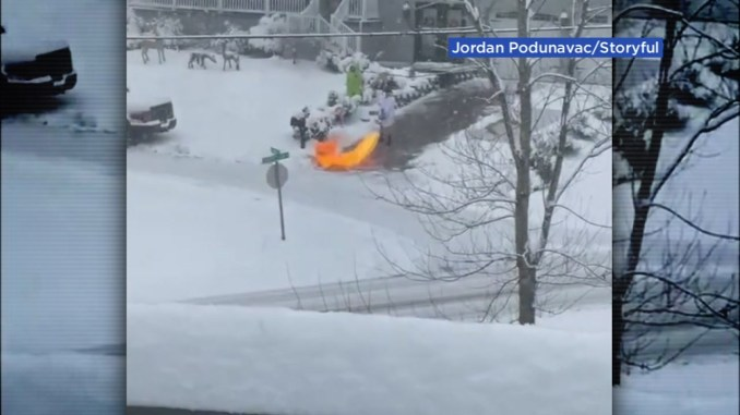 Kentucky man clears snowy driveway using flamethrower