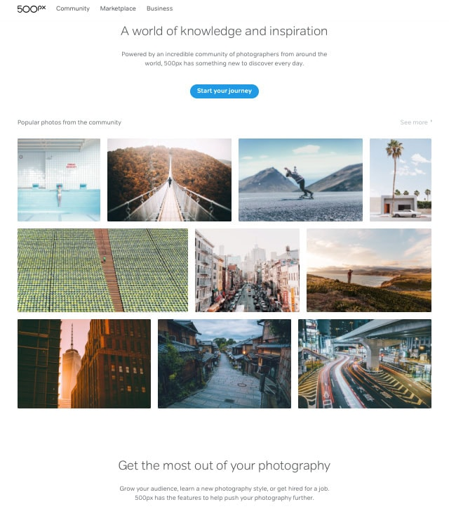 500px Homepage