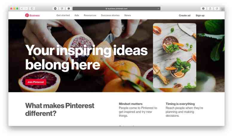 Home page di Pinterest Business
