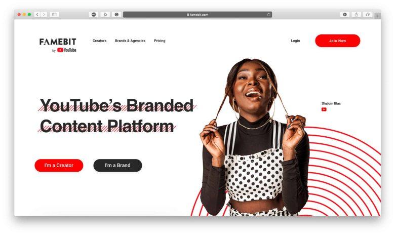 Piattaforma di marketing di Famebit Influencer