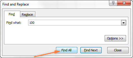 Enter the needed values and click the Find All button.