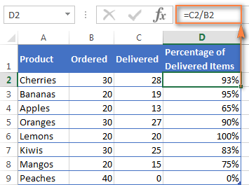 Using the basic Excel percentage formula