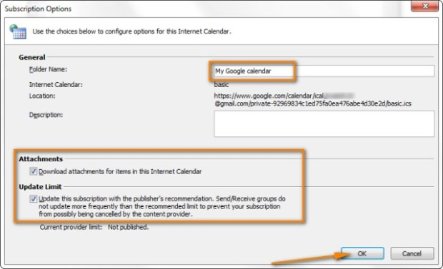 Appointed to import the calendar and make sure the check box Update Limit is selected.
