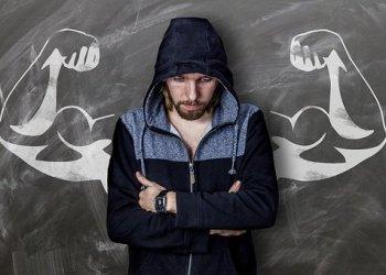 Board Strong Man Drawing Chalk Muscles Weak