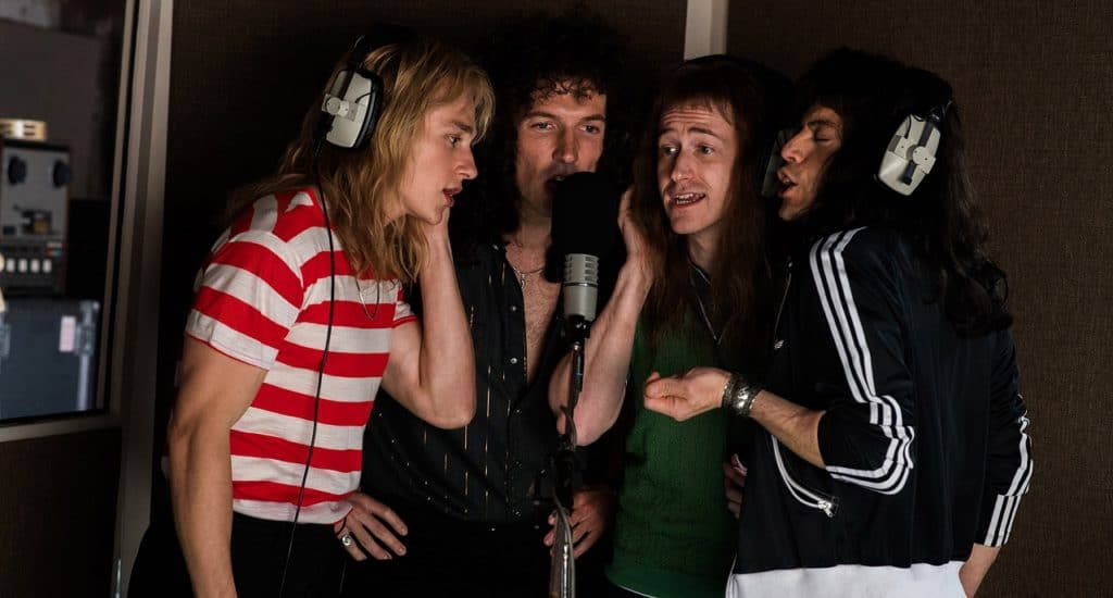 The movie quartet recording the backing vocals for Bohemian Rhapsody (Image Credits: 20th Century Fox)