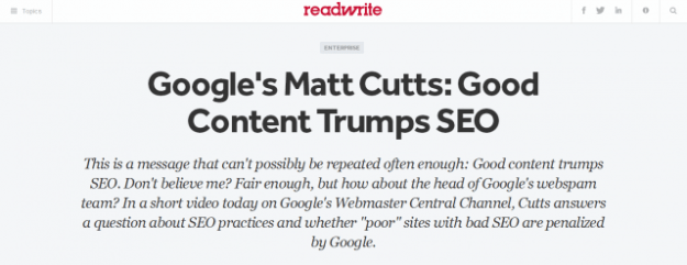 Good content trumps SEO