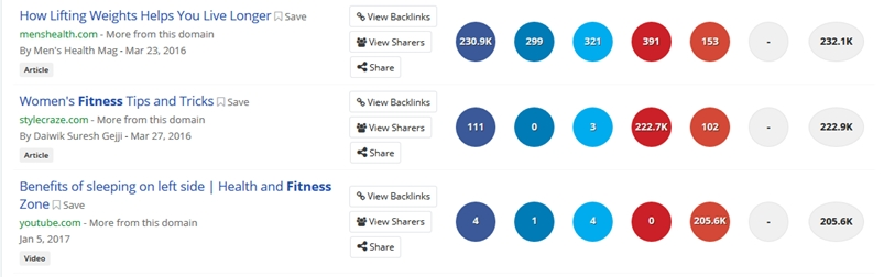 "BuzzSumo Data for ""Fitness"""