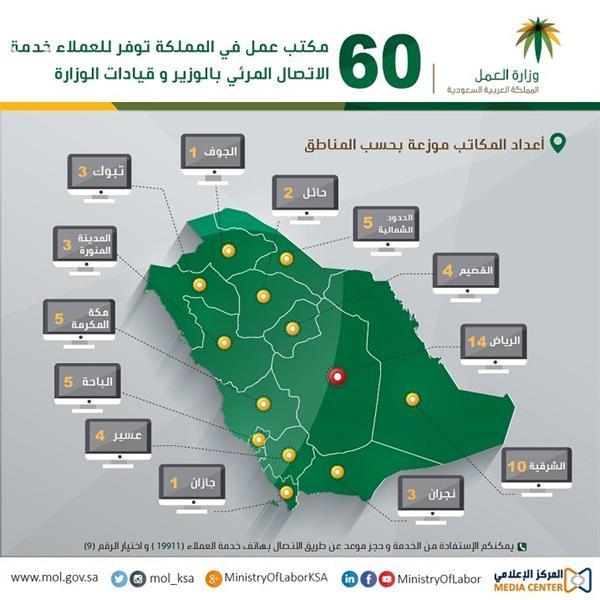 60 مكتباً موزعين في جميع أنحاء المملكة
