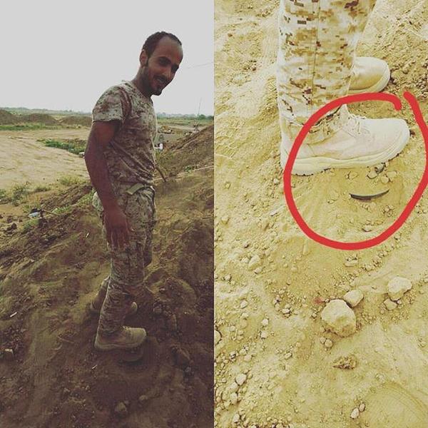جندي يخاطر بحياته لإنقاذ زميله من لغم وطأه بقدمه بالحد الجنوبي