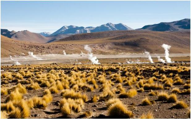 تتسم صحراء أتاكاما بدرجات حرارة مرتفعة نهارًا، وشديدة البرودة ليلاً تصل إلى تحت الصفر، وهي صحراء ممتدة في تشيلي وبيرو وبوليفيا