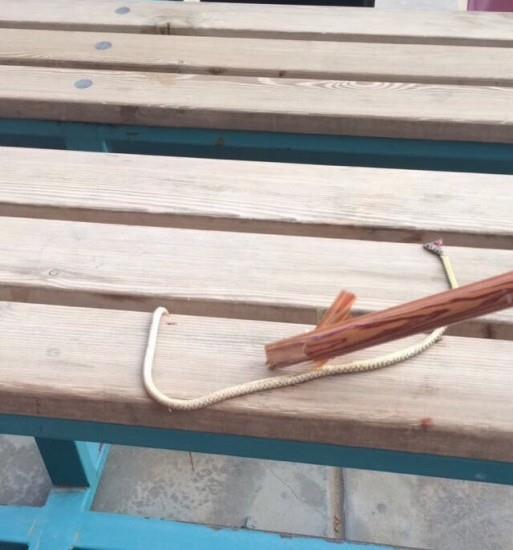 """بارق: """"إدارية"""" بمجمع بنات تقتل ثعباناً يقارب المترين وتعلّقه بساحة المجمع"""