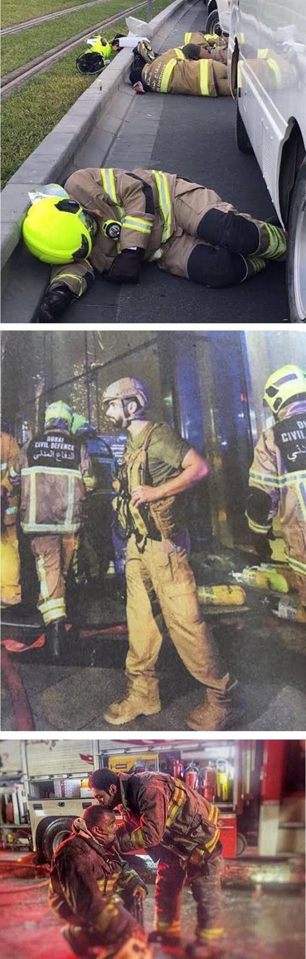 صور لرجال الإطفاء يتوسطهم نجل حاكم دبي خلال الحريق
