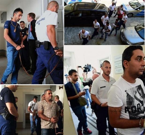 أربع صور لاقتياد المشتبه بهم الى جلسة المثول التي مددت احتجازهم مدة شهر