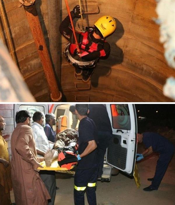 الدفاع المدني بالعاصمة المقدسة يتمكن، من إنقاذ عامل باكستاني سقط في بئر