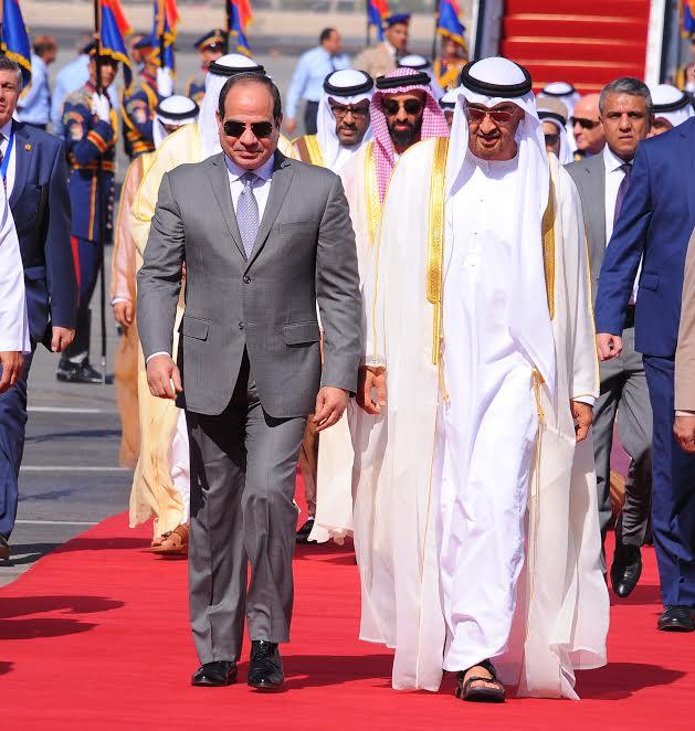 الرئيس المصري خلال استقباله الشيخ محمد بن زايد