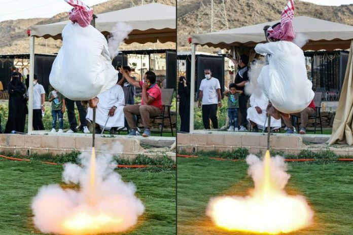 A man dances the Hijazi tashr in the Saudi city of Taif on April 10, 2021