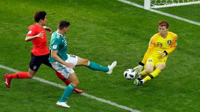 South Korea goalkeeper Jeon Hyun Woo against Germany in the World Cup 2018