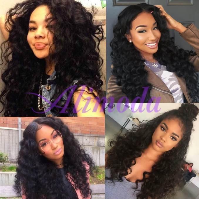 ali moda virgin human hair brazilian loose deep wave hair 3 bundles with frontal