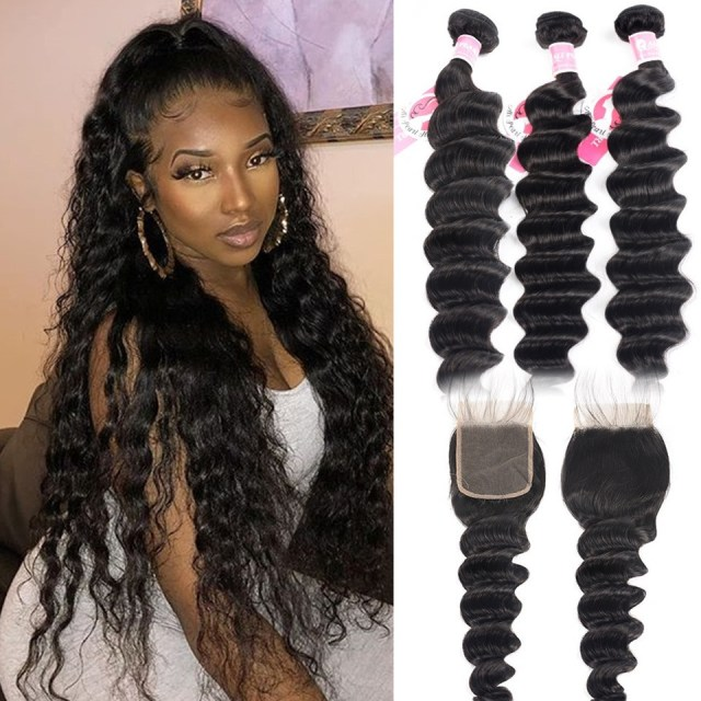 ali pearl peruvian loose deep wave hair 3pcs with 4*4 lace closure