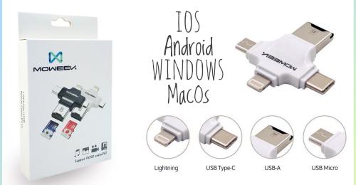 Moweek 4 in 1 - универсальный кардридер microSD для iPhone/iPad/Android/PC