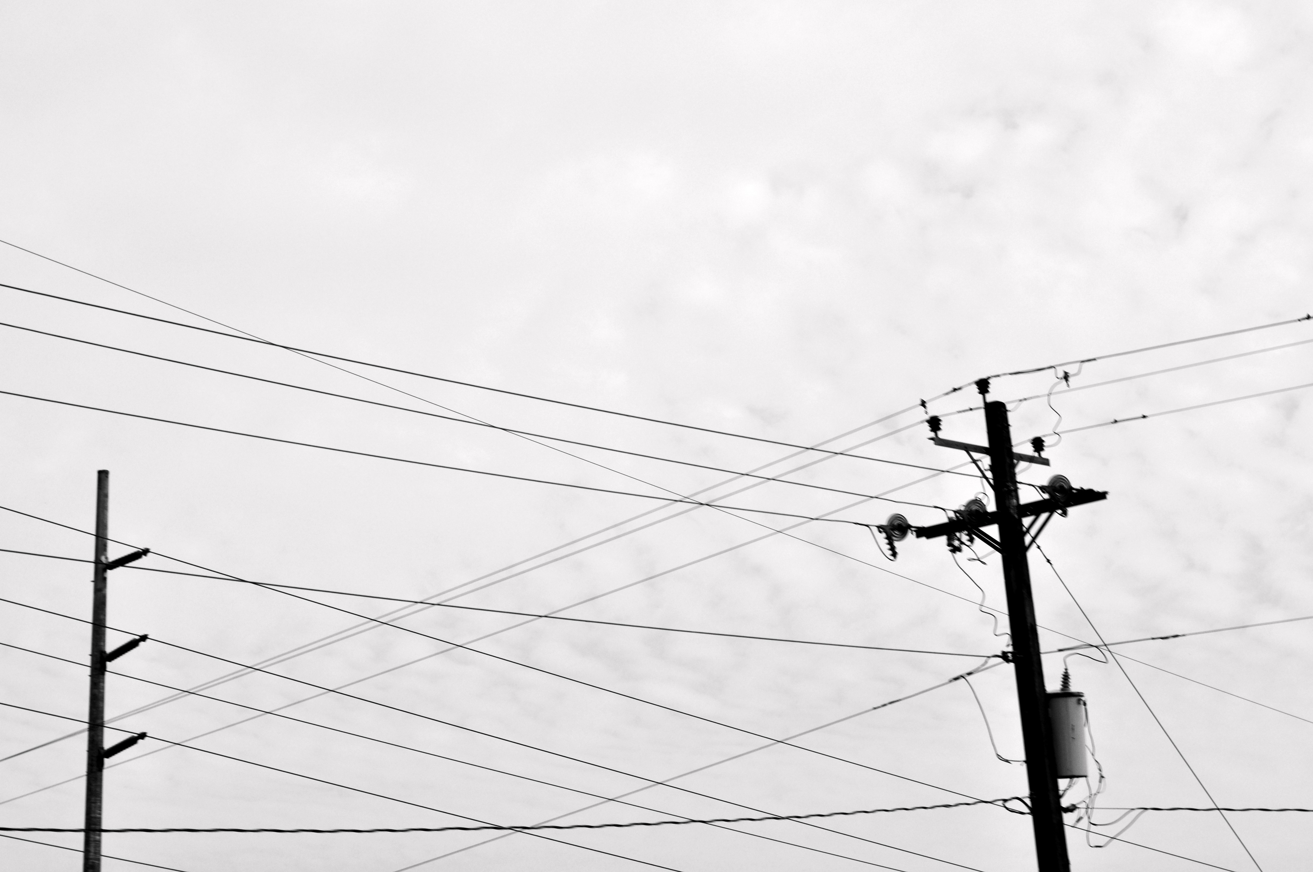 Cityscapes Grayscale Power Lines Urban Wallpaper