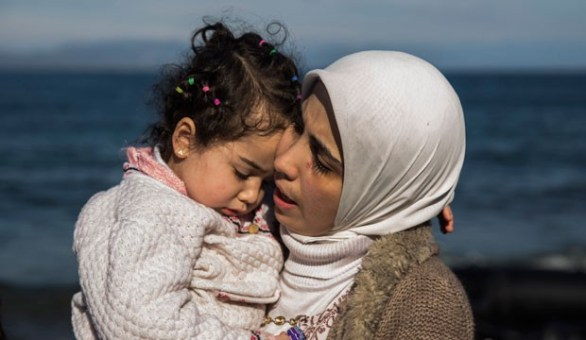 Syrian refugee mother and child