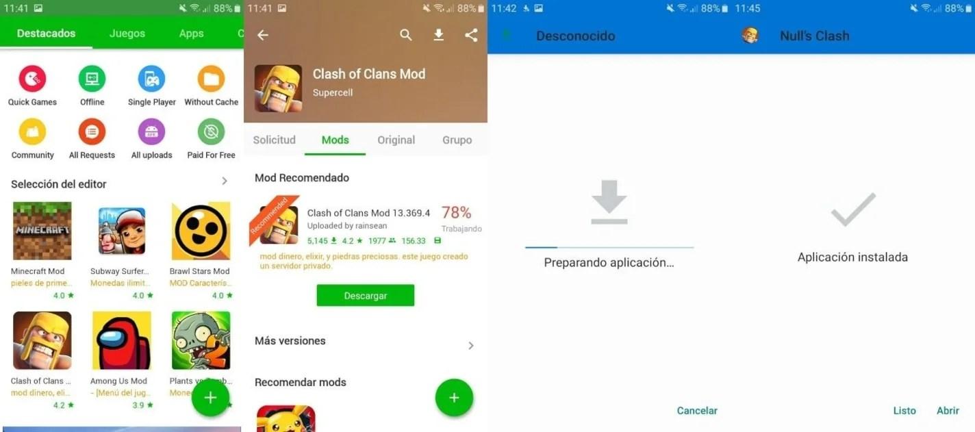 Descarga instalación apps y juegos en HappyMod