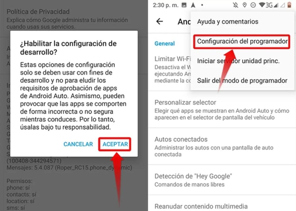 Pasos para activar el modo desarrollador en Android Auto