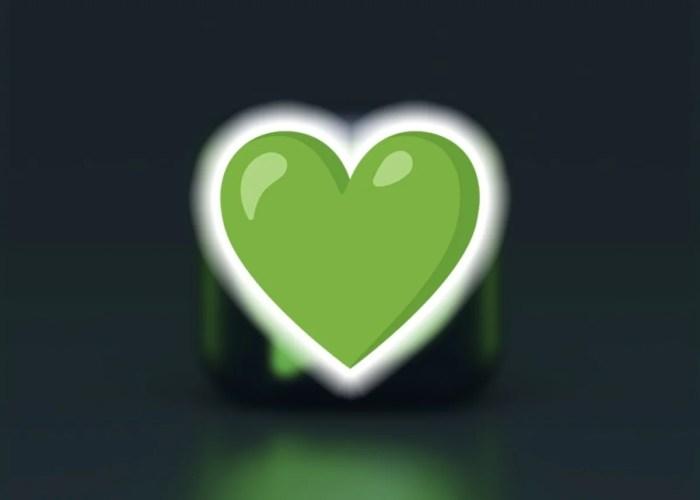 Emoji de corazón de color verde