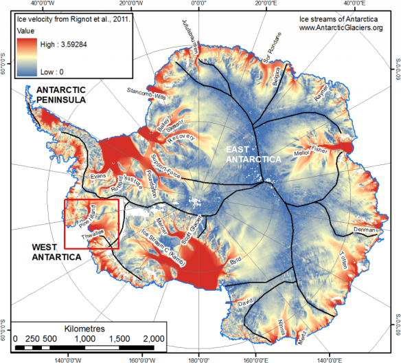 Ice streams of Antarctica with Pine Island Glacier and Thwaites glacier highlighted.