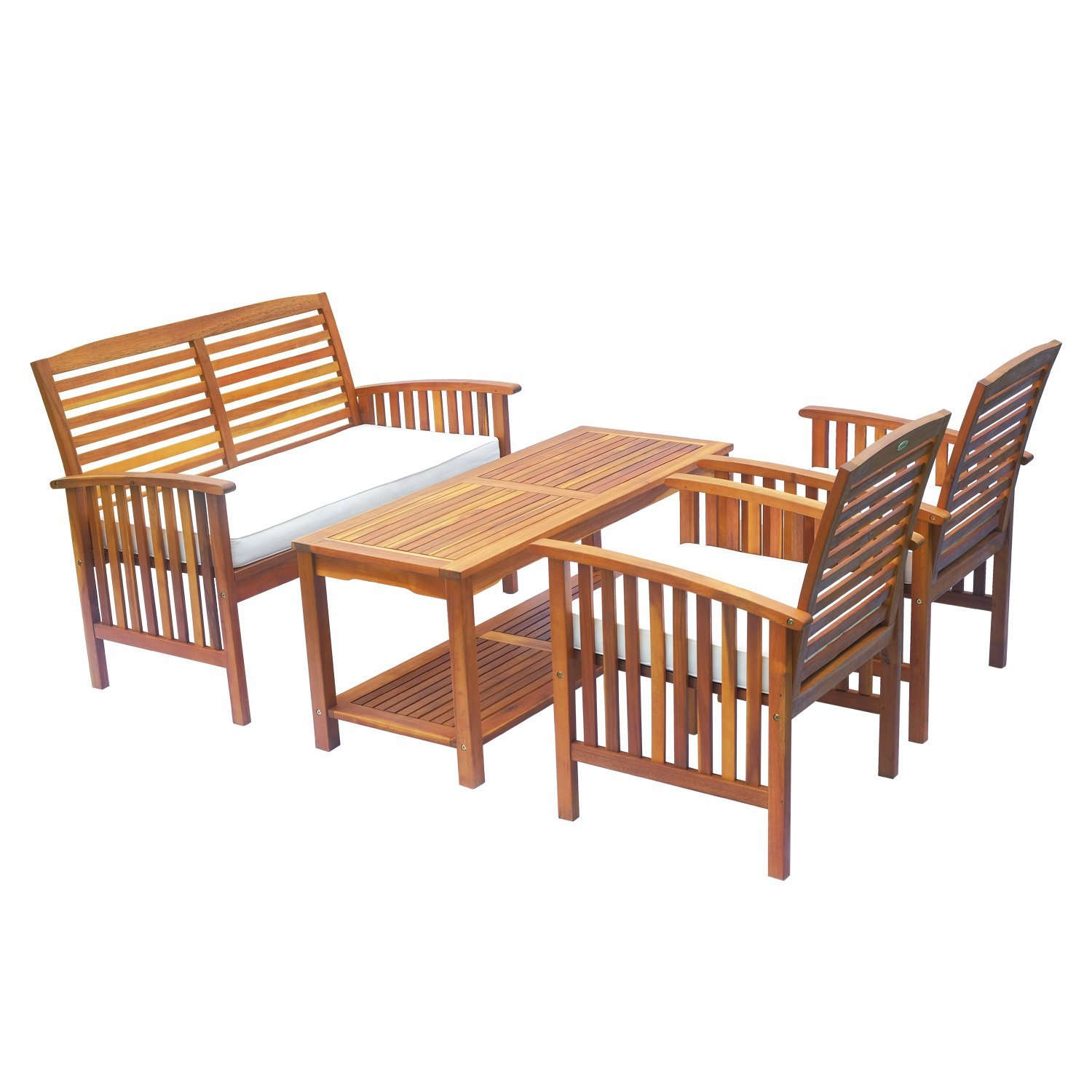 Outsunny 4 Piece Acacia Wood Outdoor Conversation Set ... on Outdoor Loveseat Sets  id=25353