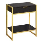 Monarch 24 Contemporary End Table Night Stand With Large Storage Drawer And Open Bottom Shelf Cappuccino Wood Grain Look Gold Metal Frame