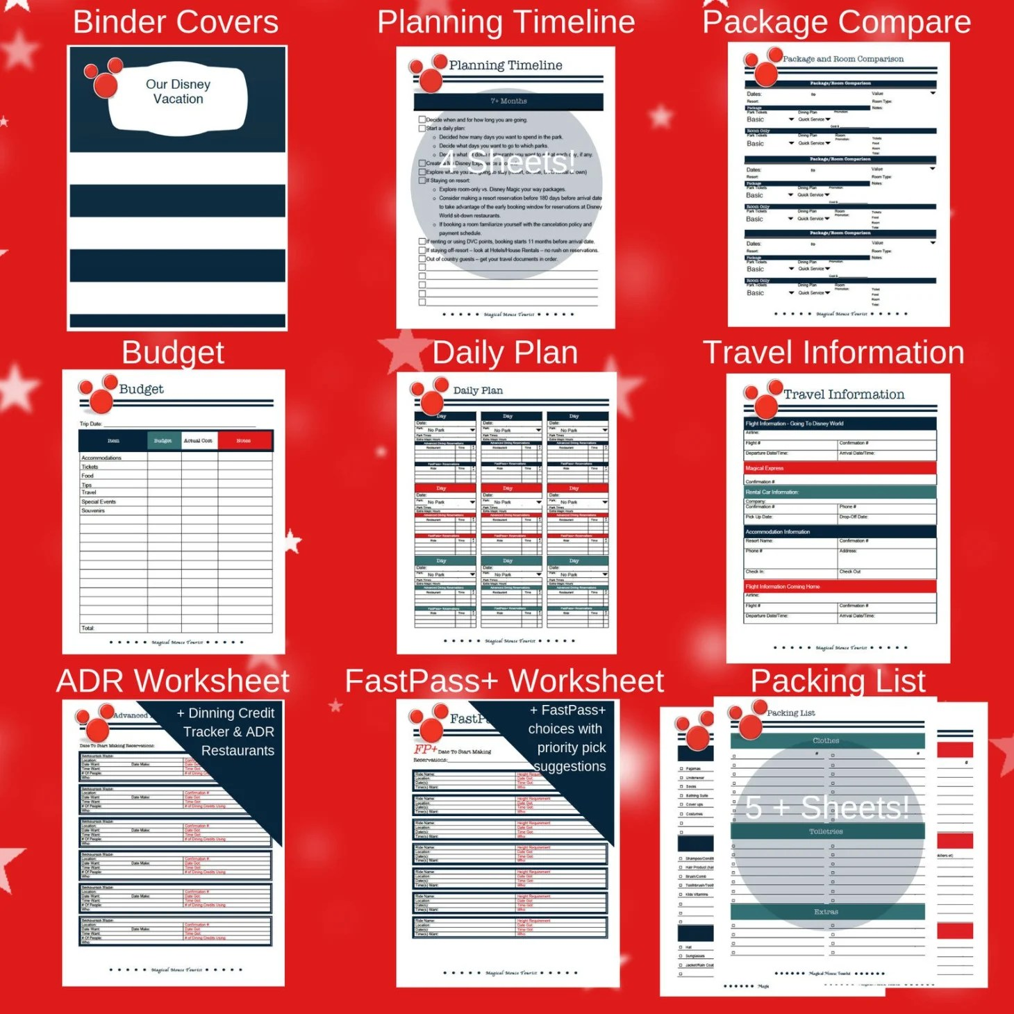 Disney Vacation Spreadsheet Planner Etsy Download