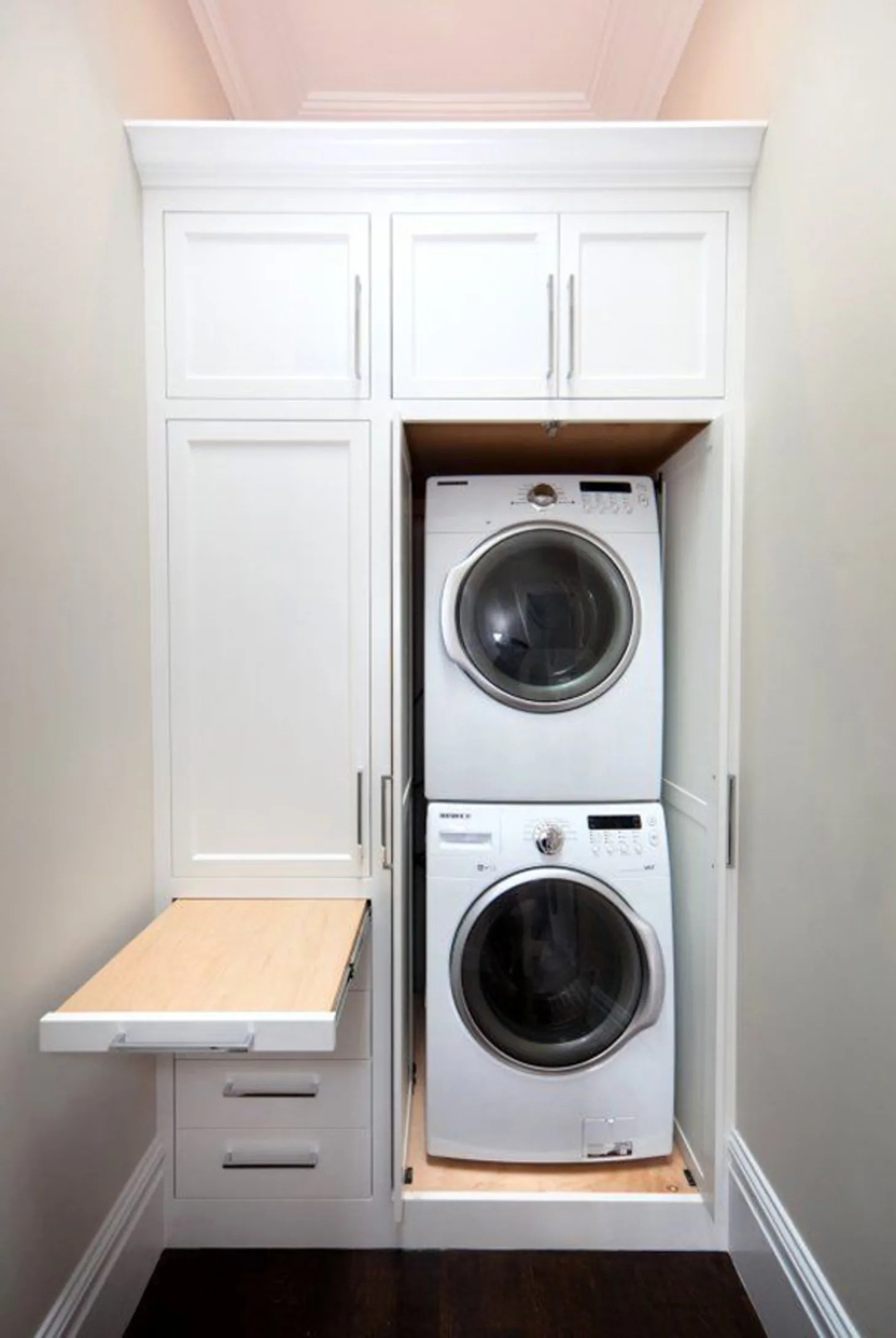 Small Laundry Room Remodeling and Storage Ideas ... on Laundry Cabinets Ideas  id=32469