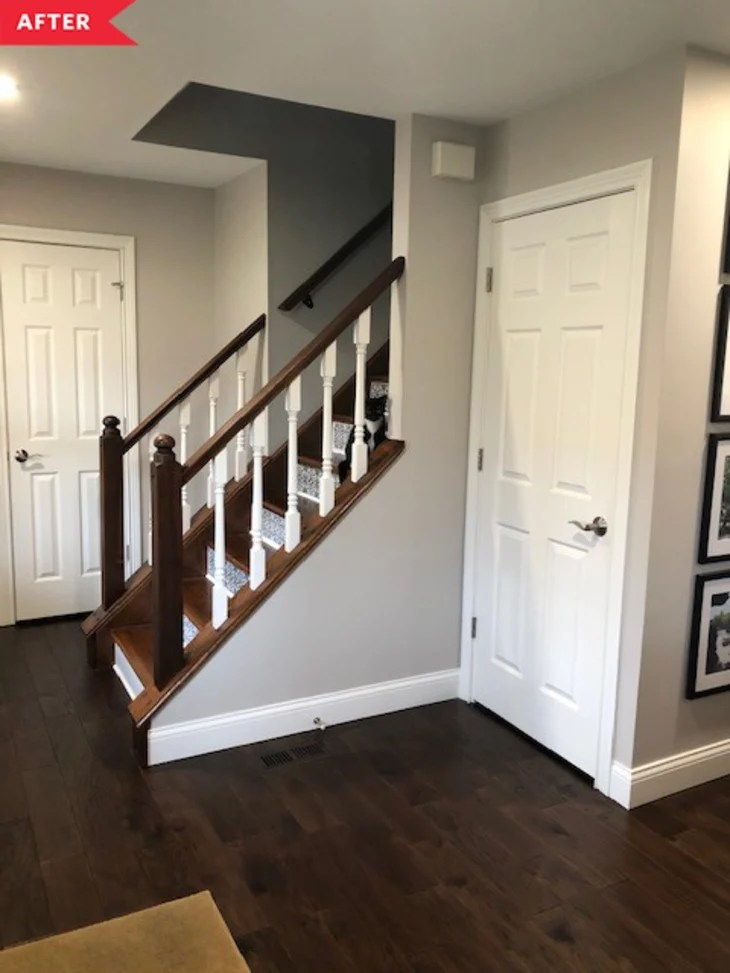 Faux Tiled Stair Riser Project Apartment Therapy | Dark Wood Stairs With White Risers | Wall | Beautiful Wood | Wooden | Modern | Floor