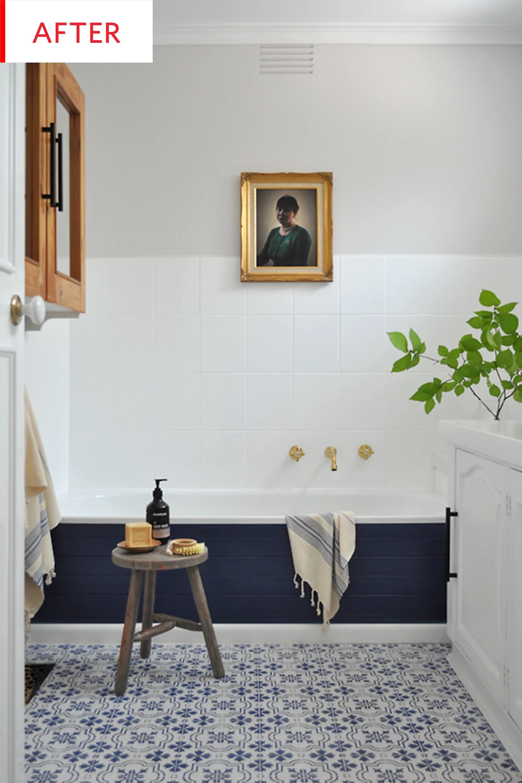 diy bathroom remodel tile paint