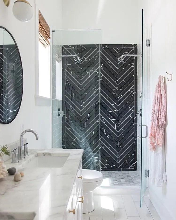 black marble in the bathroom tile