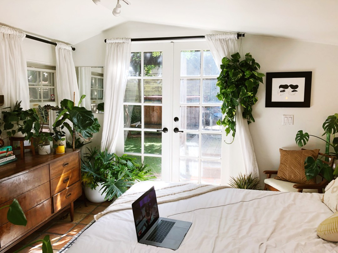 A Teeny 250-Square-Foot Backyard Studio Apartment Is a Cozy, Plant-Filled Cottage