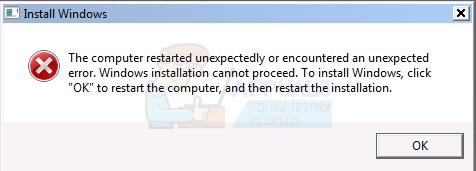 Der Computer wurde unerwartet neu gestartet oder es ist ein unerwarteter Fehler aufgetreten