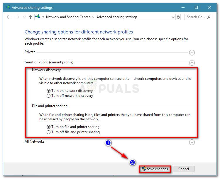Aktivieren Sie die Netzwerkerkennung sowie die Datei- und Druckerfreigabe