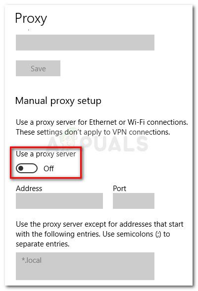 Deaktivieren Sie die Option Proxyserver verwenden