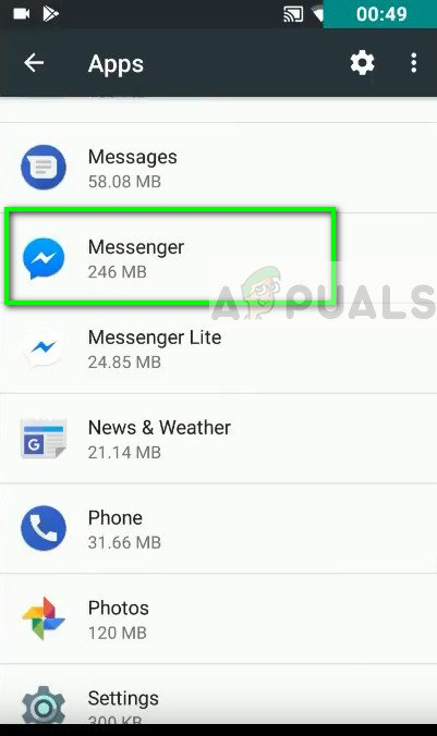 Messenger im Android Application Manager