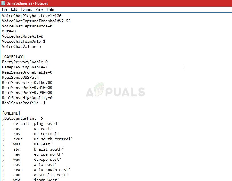 Konfigurationsdatei GameSettings.ini
