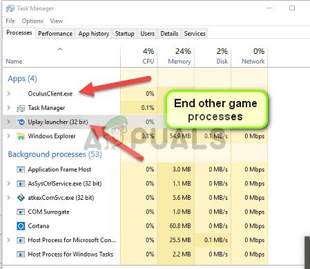 Stoppen anderer Spiele (in diesem Beispiel Ubisoft) in Windows 10
