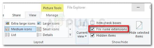 Asegúrese de que la opción Extensiones de nombre de archivo esté marcada